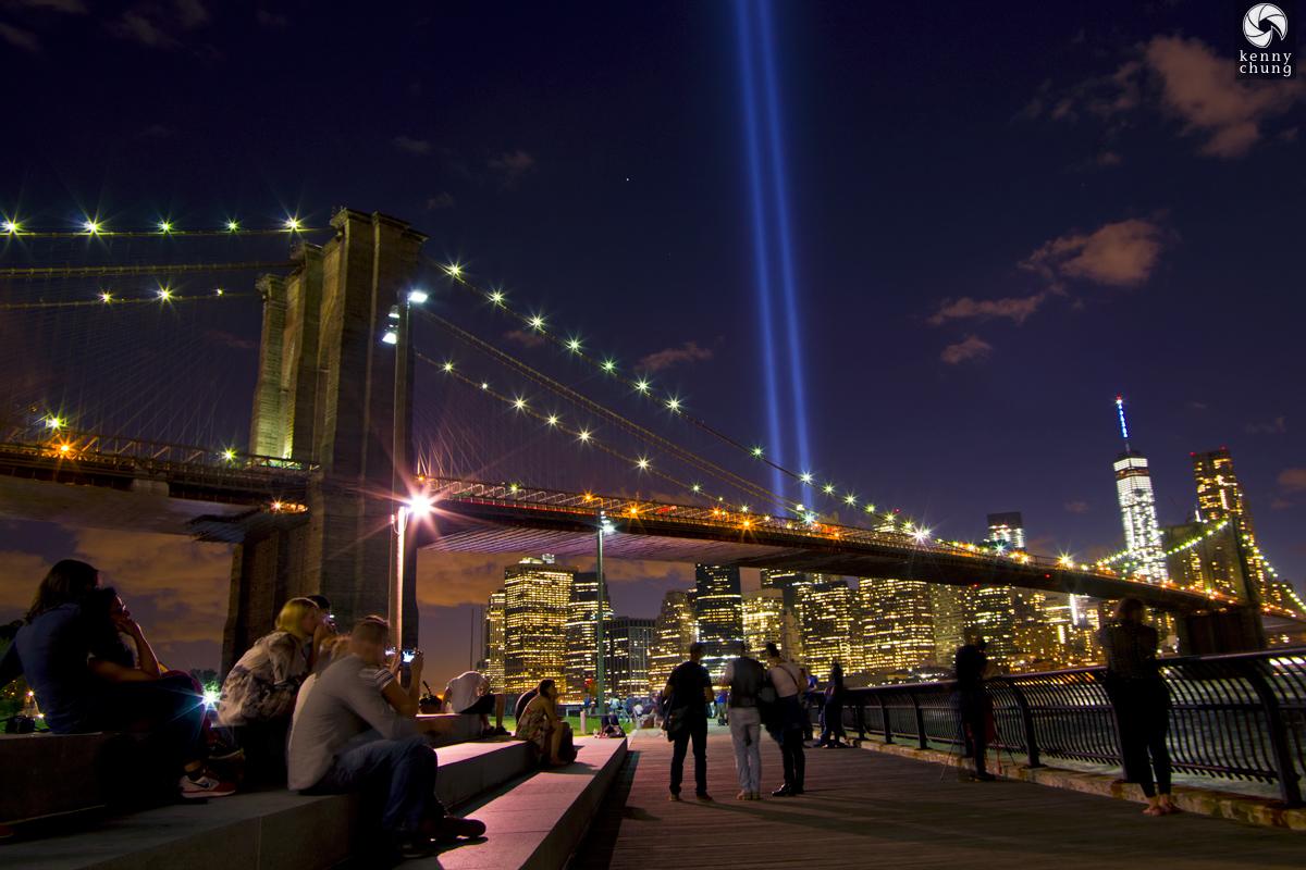 Tribute In Light from Brooklyn Bridge Park 2015