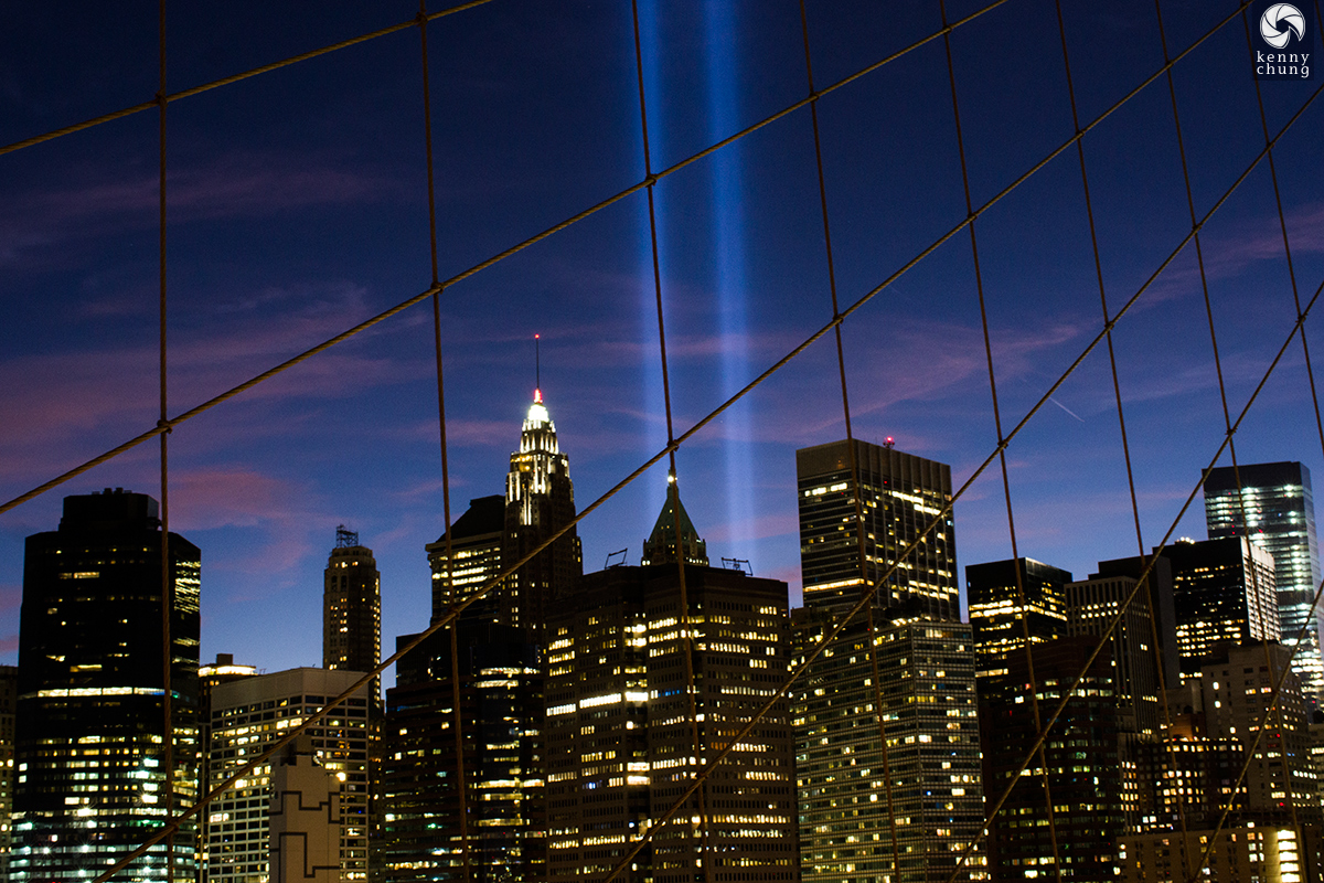 Tribute in Light 2016 from the Brooklyn Bridge