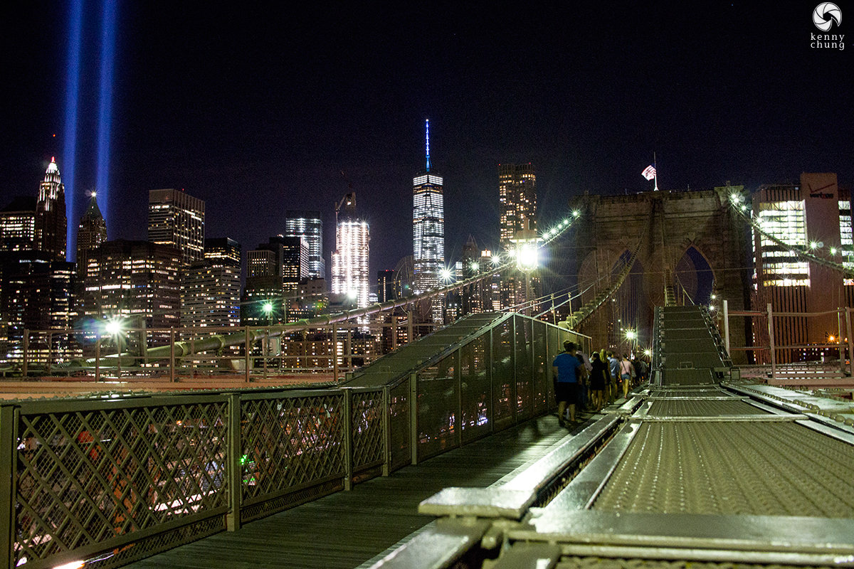 WTC Tribute in Light and Freedom Tower as seen from the Brooklyn Bridge