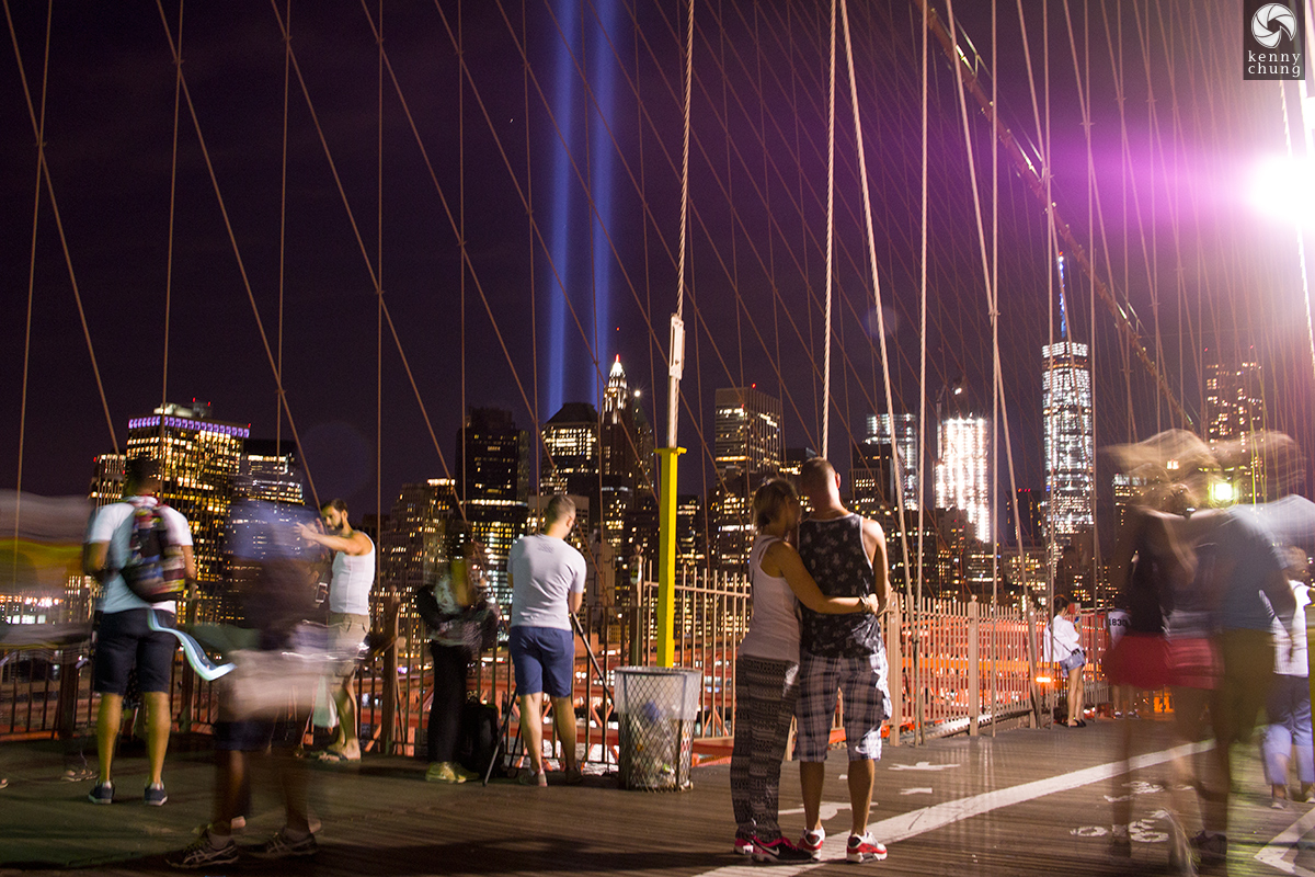 Couple on the Brooklyn Bridge viewing the Tribute in Light 2016