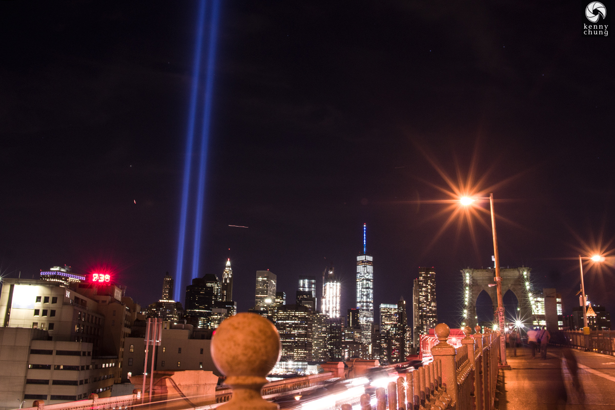 Tribute In Light as seen from the Brooklyn side of the Brooklyn Bridge