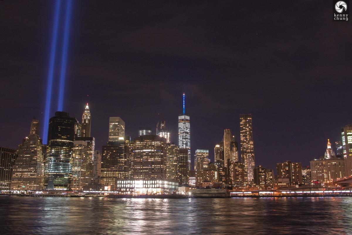 Tribute in Light from Brooklyn Bridge Park Pier 1