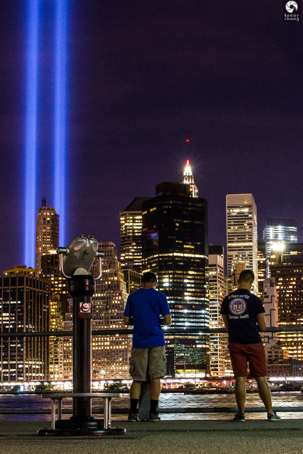 Navy man viewing the Tribute in Light from Brooklyn Bridge Park