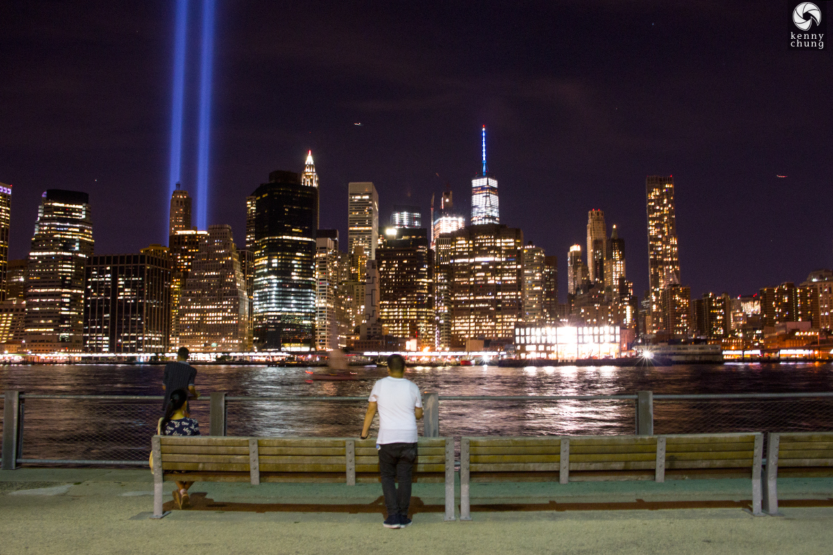 More spectators viewing the Tribute in Light from Brooklyn Bridge Park