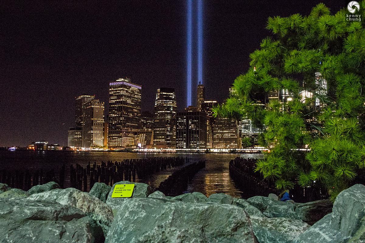 Tribute in Light by the Brooklyn Bridge Park rocks