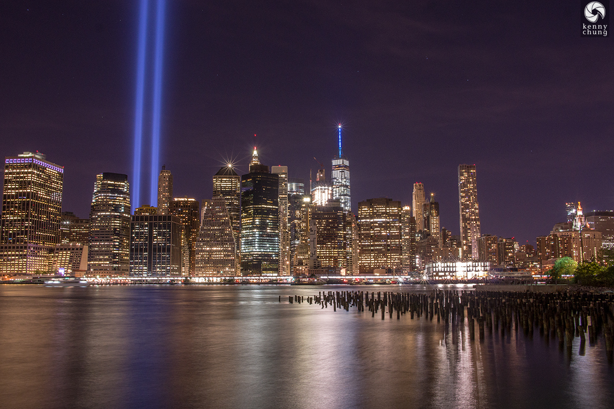 Tribute in Light and Lower Manhttan as seen from the Brooklyn Bridge Park pier