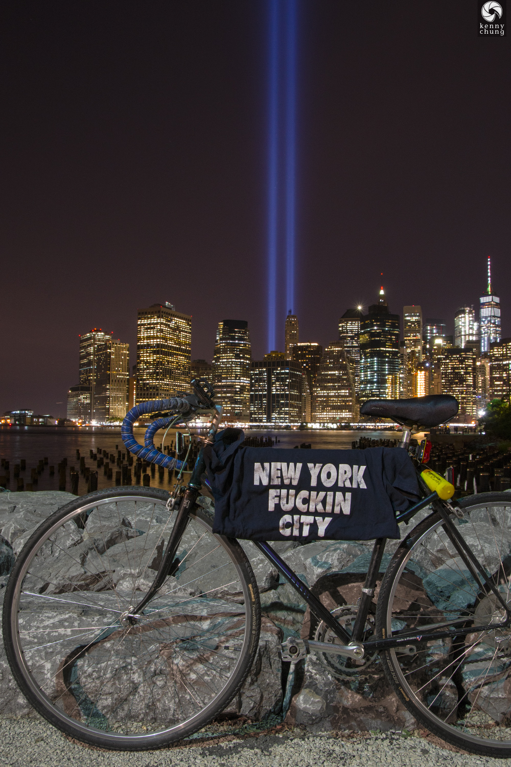 Tribute in Light 2017 from Brooklyn Bridge Park