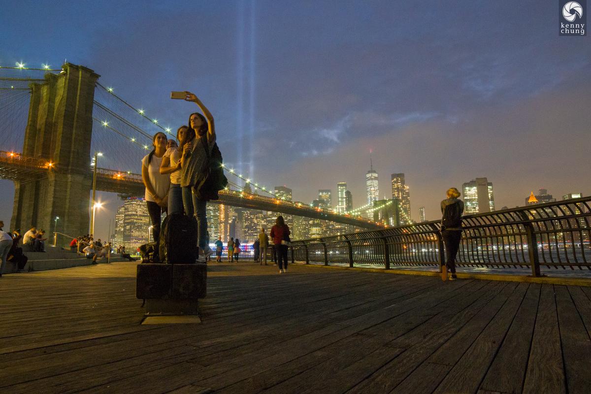 Tribute in Light 2018 from Brooklyn Bridge Park