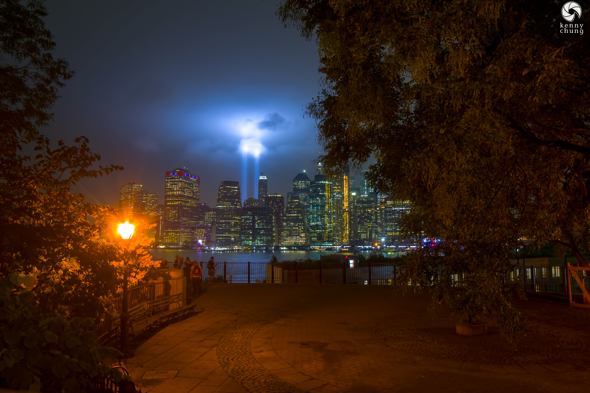 Tribute in Light 2018 as viewed from the Brooklyn Promenade