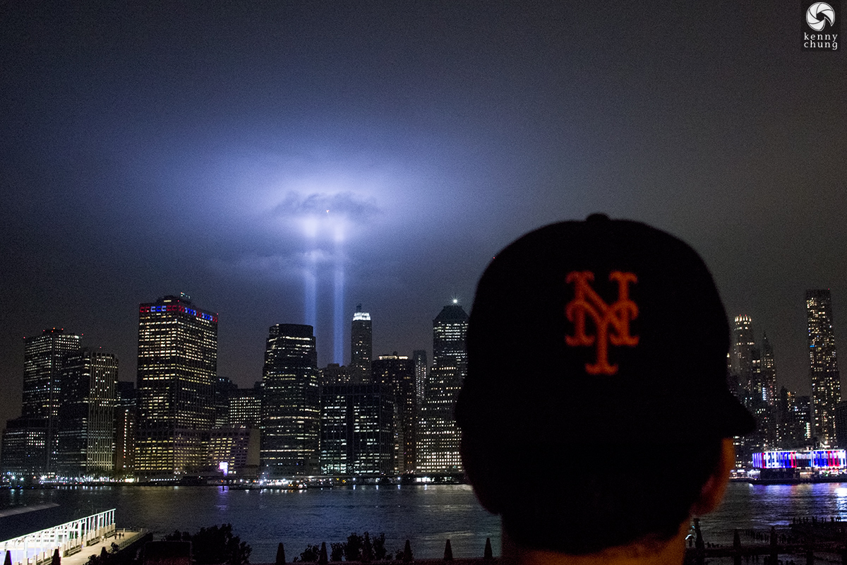 Tribute in Light 2018 and New York Mets hat from the Brooklyn Promenade