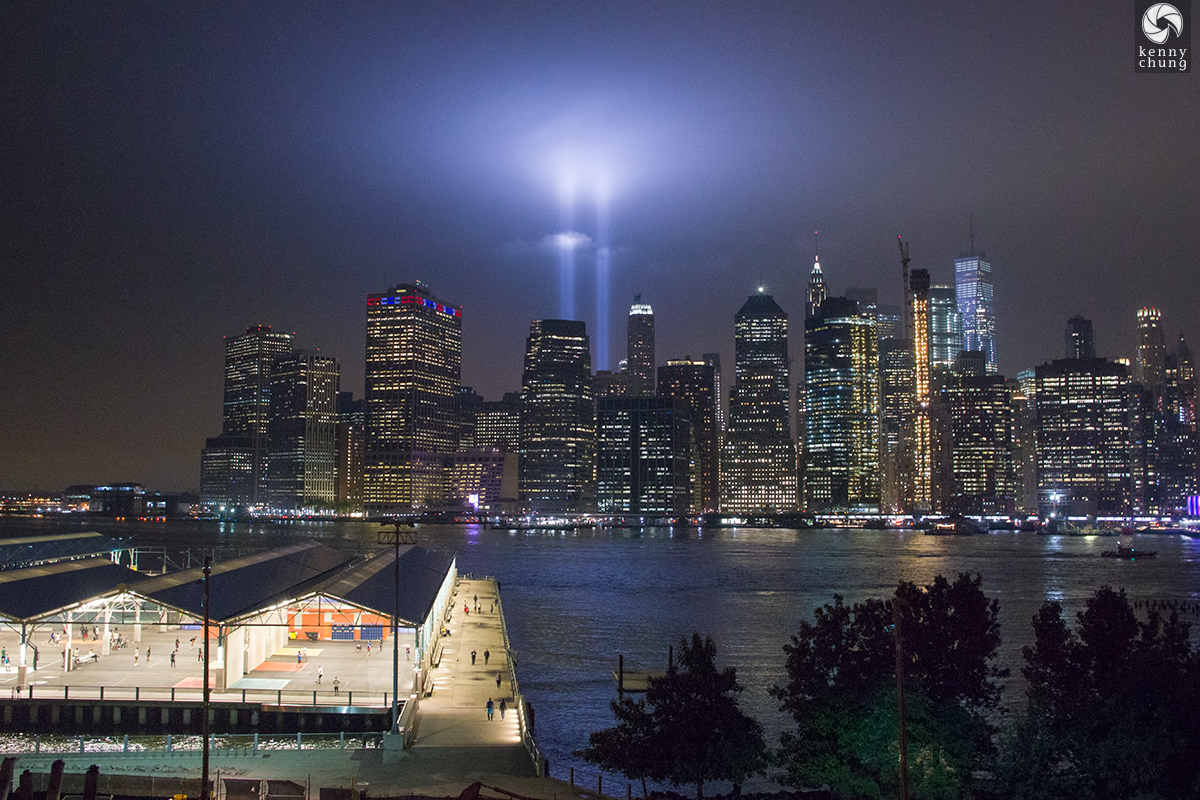Tribute in Light 2018 and Brooklyn Bridge Park Pier 2 as viewed from the Brooklyn Promenade
