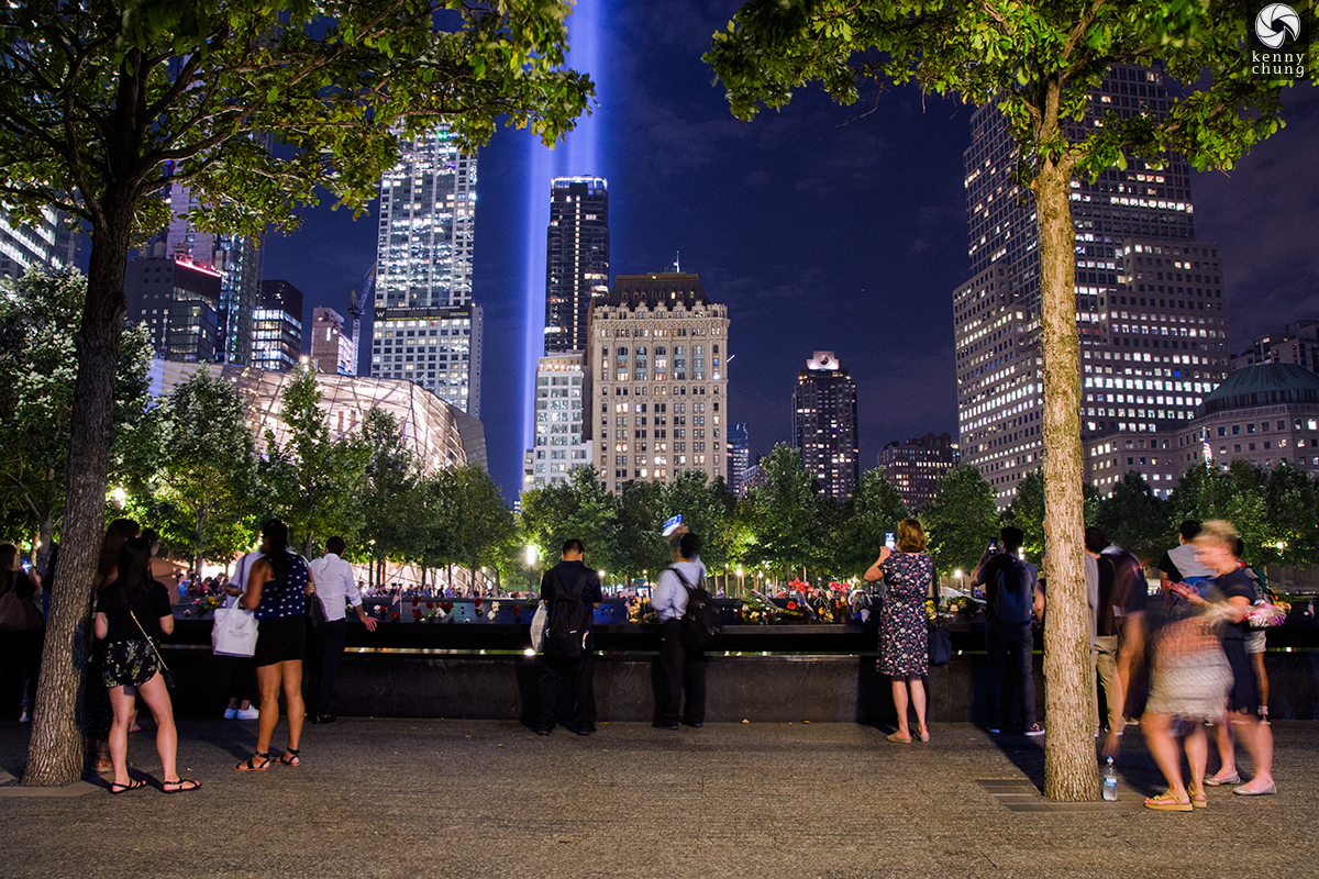 Photographers and tourists at the 9/11 Memorial South Pool.