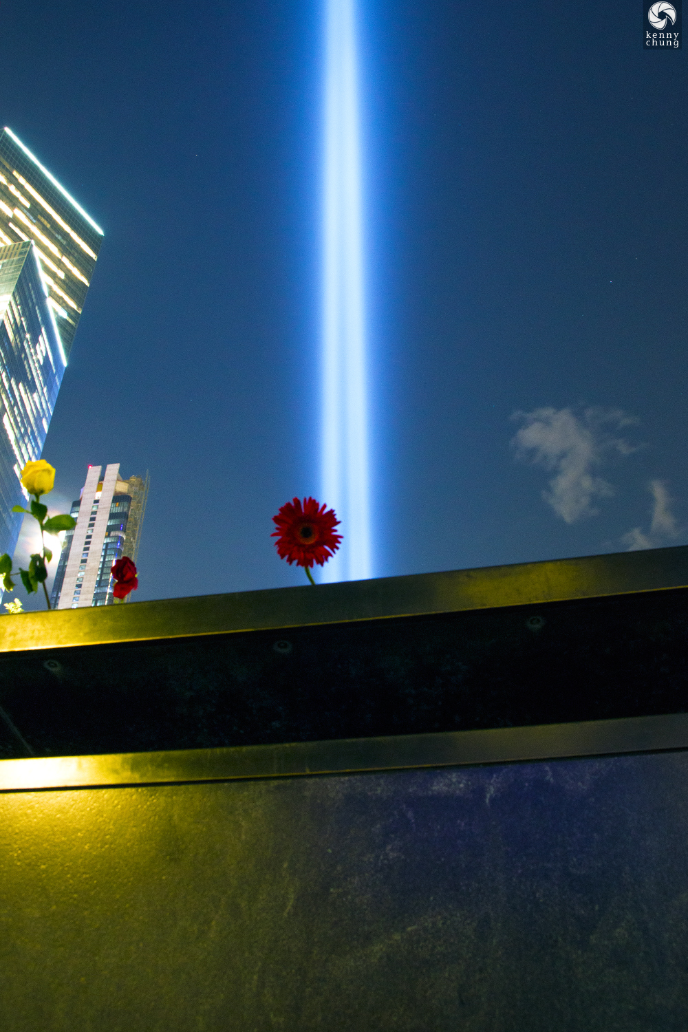 Flower placed on the 9/11 Memorial Pool during Tribute in Light 2019