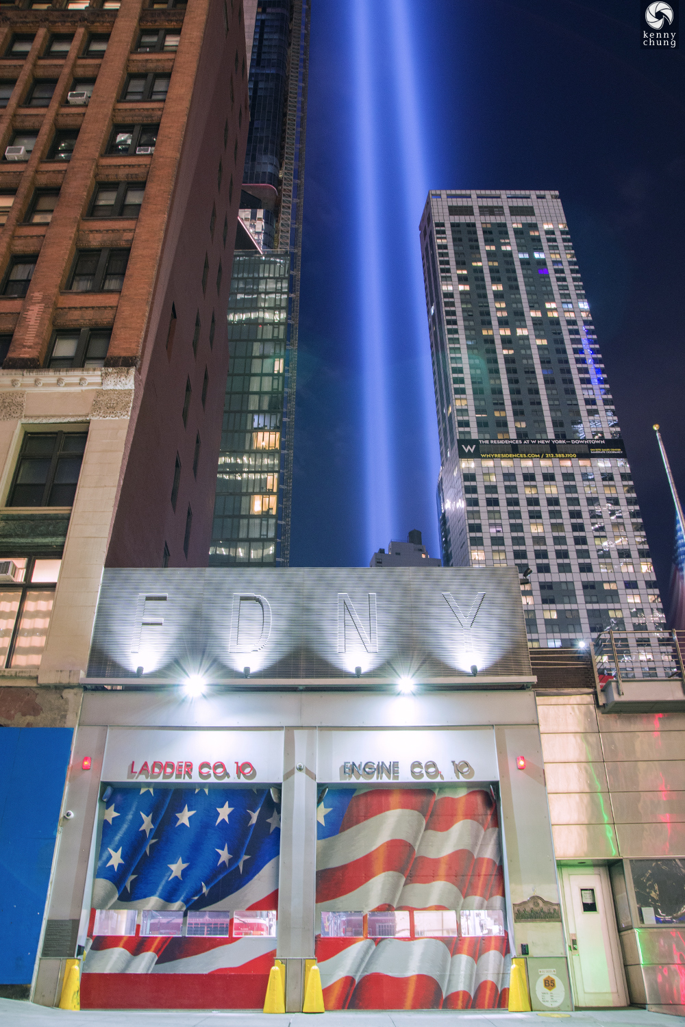 FDNY Ten House (Ladder Co 10/Engine Co 10) during Tribute in Light 2019