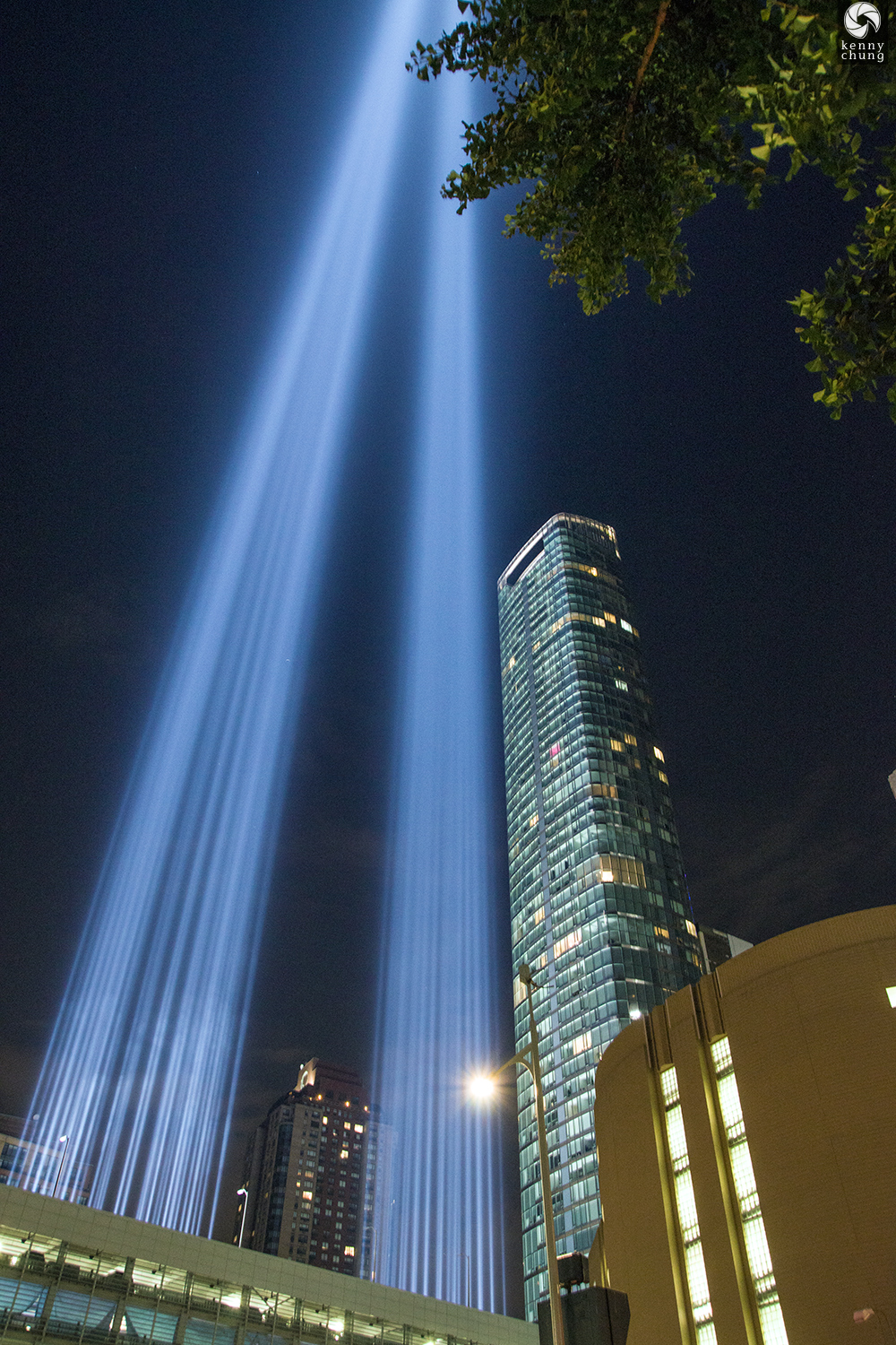Tribute in Light 2019 beams originating from the Battery Parking Garage rooftop