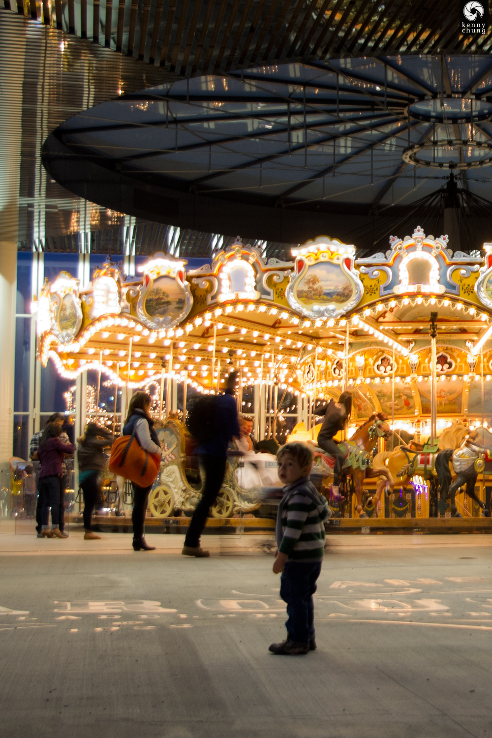 Boy at Janes Carousel in Brooklyn
