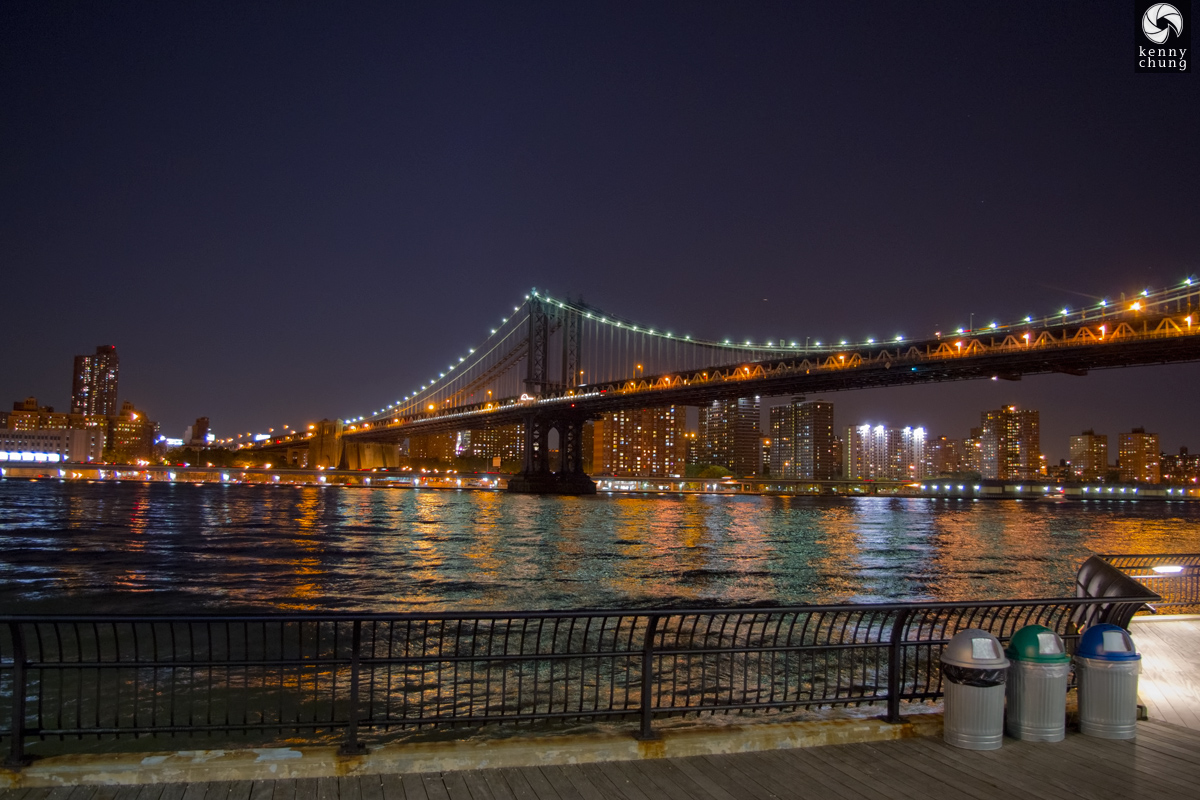 Manhattan Bridge and Brooklyn Bridge Park garbage cans