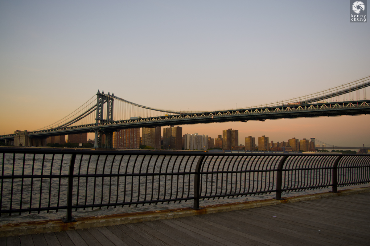 The Manhattan Bridge from Brooklyn Bridge Park