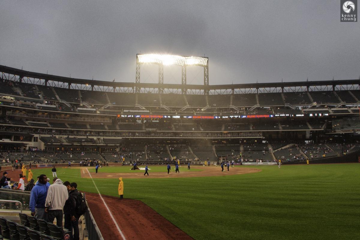 Citi Field during a rain delay