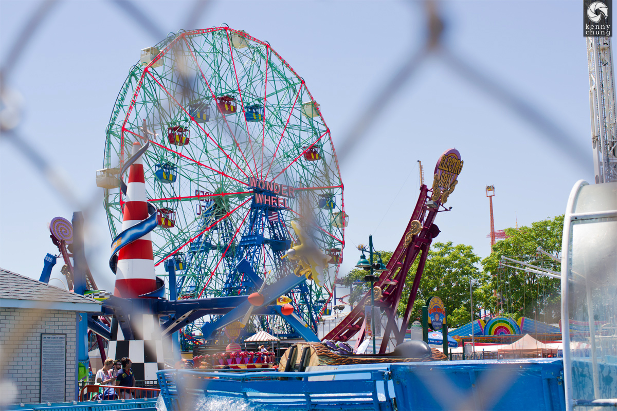 The WOnder Wheel and the Electro Spin ride at Coney Island
