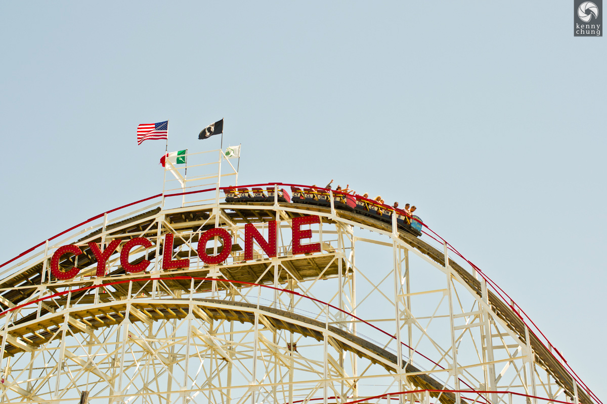 The world famous Cyclone roller coaster at Coney Island