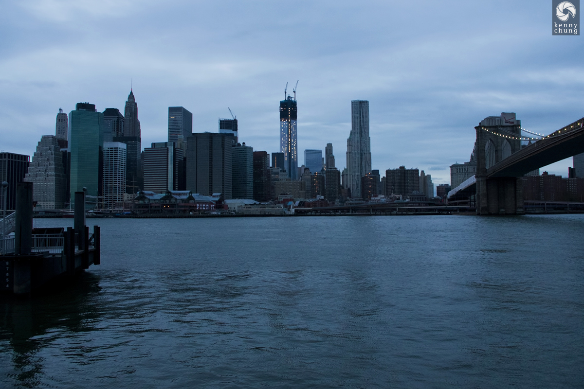 Blackout sunset of NYC from Brooklyn Bridge Park
