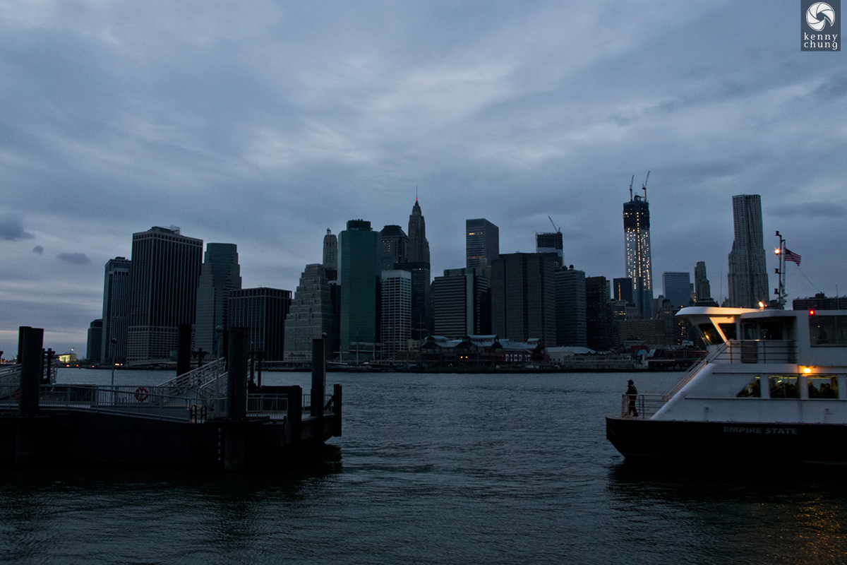 A ferry docking at Pier 1 at Brooklyn Bridge Park