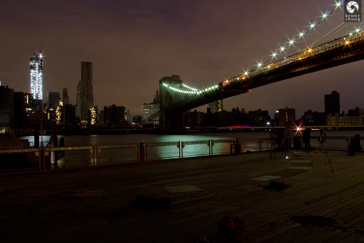 Brooklyn Bridge and One World Trade during the 2012 Blackout