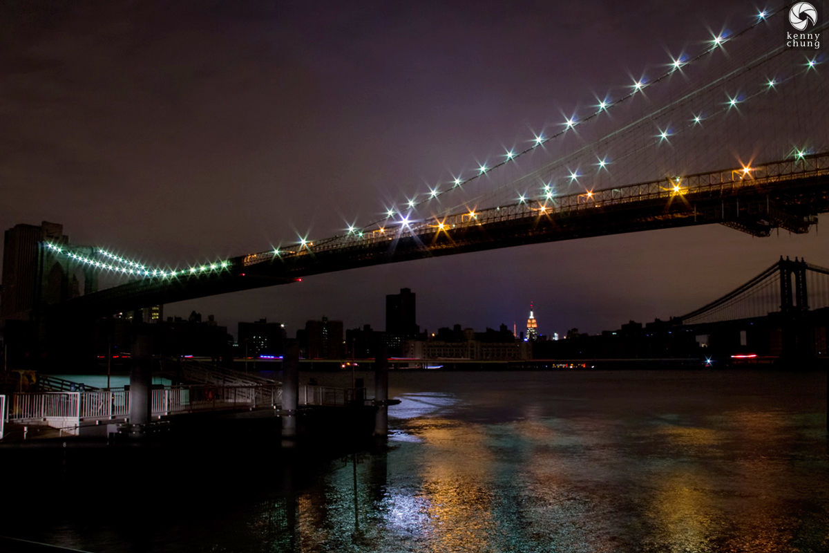Empire State Building and Manhattan Bridge during Hurricane Sandy blackout