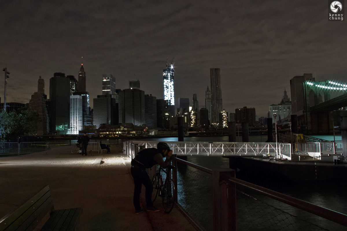 Photographer taking pictures of Hurricane Sandy blackout in NYC