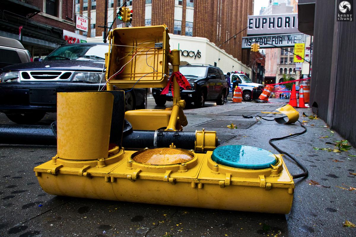 A fallen traffic light after Hurricane Sandy in Downtown Brooklyn