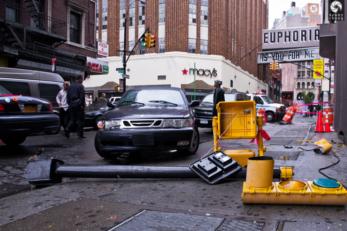 Traffic light knocked down by Hurricane Sandy