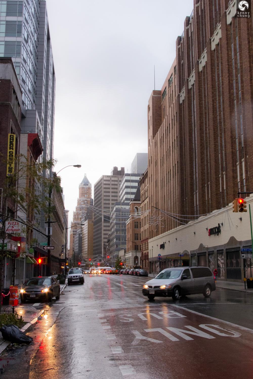 Rain coming down in Downtown Brooklyn