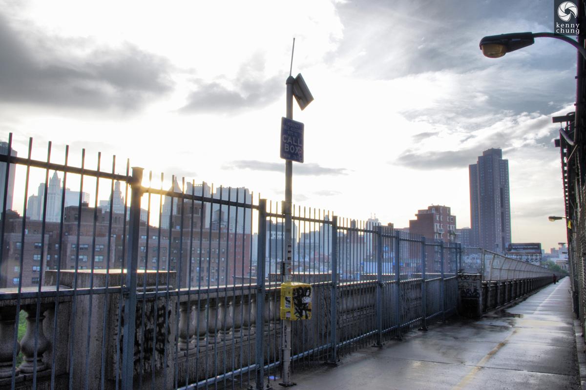 An emergency call box on the Manhattan Bridge