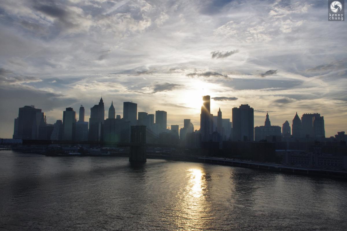 Sunset on Brooklyn Bridge and Lower Manhattan