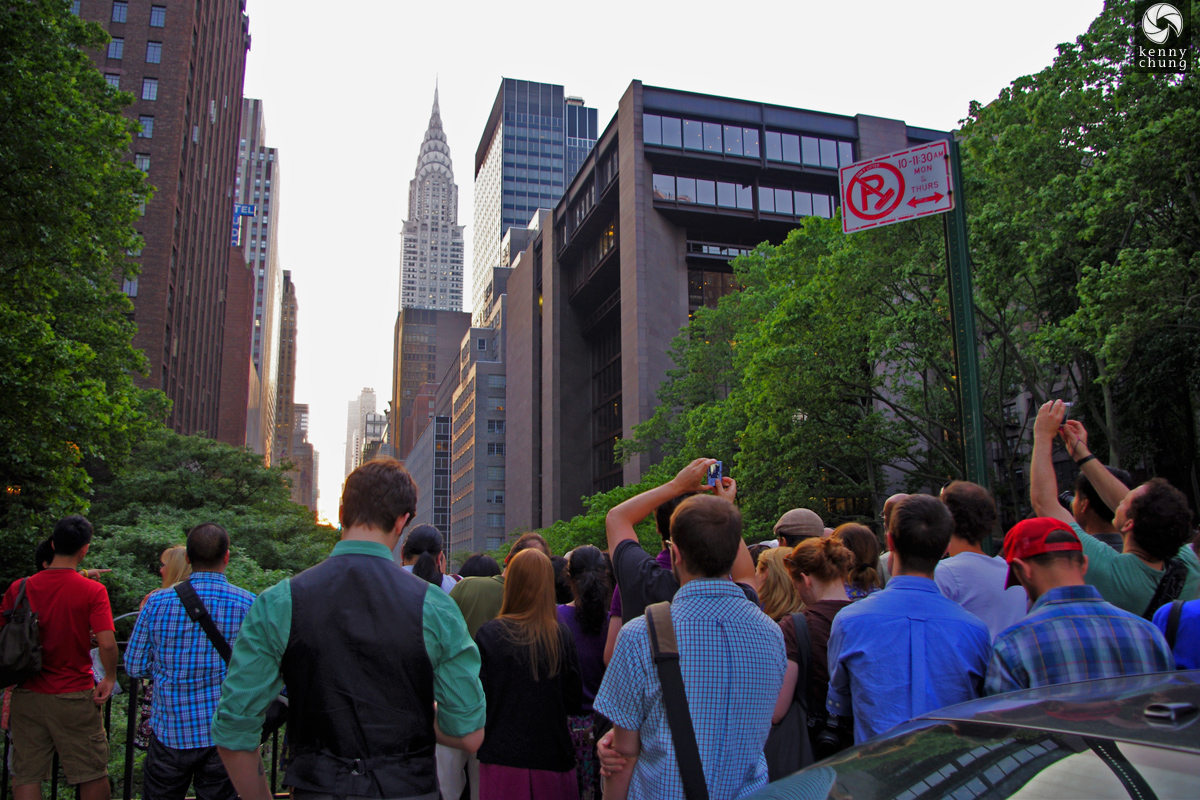 Photographers flocked to Tudor City Place for Manhattanhenge