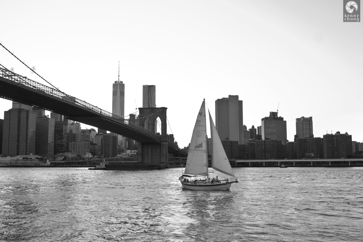 A sailboat crossing the Hudson River