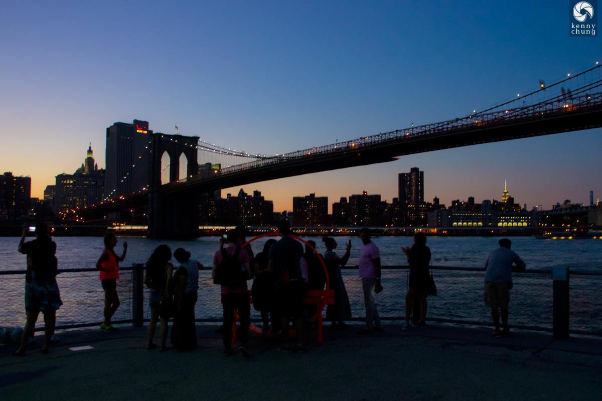 The Brooklyn Bridge at sunset as seen from Brooklyn Bridge Park