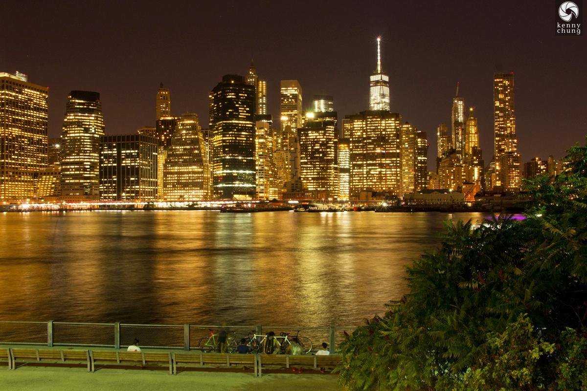 The Manhattan skyline at night from Brooklyn Bridge Park